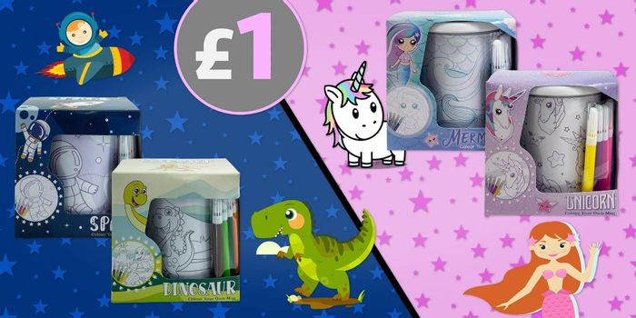 Colour Your Own Mug - Dinosaur / Space / Unicorn / Mermaid