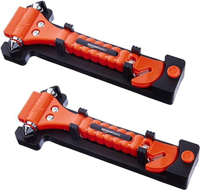 Emergency Seat Belt Cutter and Window Hammer - 2-Pack