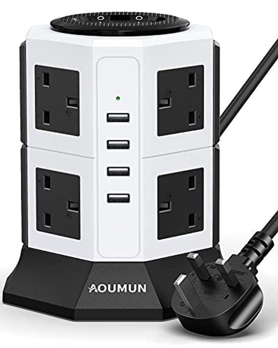 DEAL STACK - Extension Lead Power Strip Tower + £2 Coupon