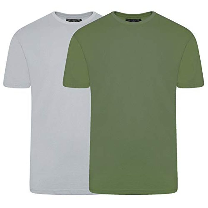 CHEAP! Mens T-Shirt 2 Pack Summer Cotton Crew Neck Multipack - 2 Pack