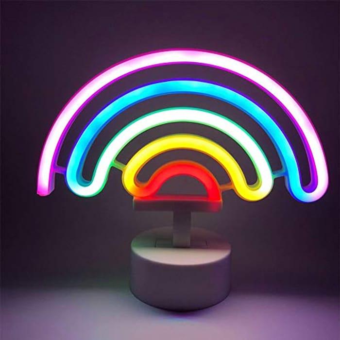 Rainbow Neon Light with Base Cute Colorful Neon Rainbow Sign
