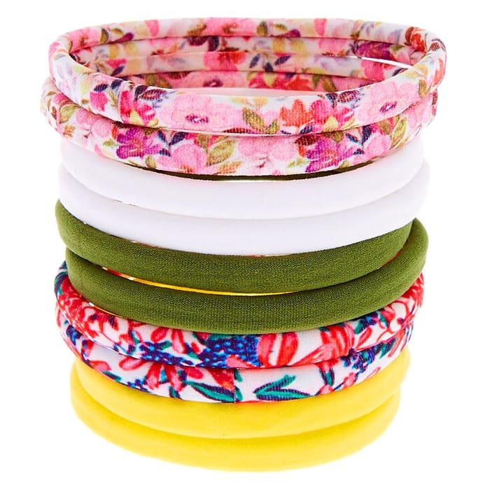 Spring Floral Rolled Hair Bobbles - 10 Pack