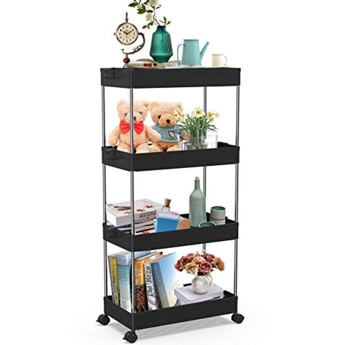DEAL STACK - SPACEKEEPER 4-Tier Slide out Storage Trolley, Black + 8% Coupon