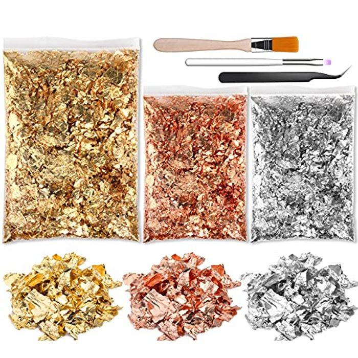3 Packs 16g Metallic Gold Leaf Flakes with Flat Gel Brush - Only £3.49!