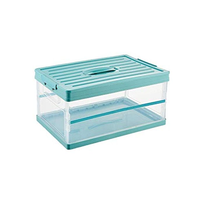 QUK Transparent Plastic Foldable Storage Box with Lid - 30L - 41x28x21cm