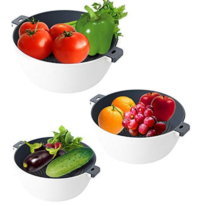 2 in 1 (6pcs) Double Layered Kitchen Colanders with Detachable Strainers