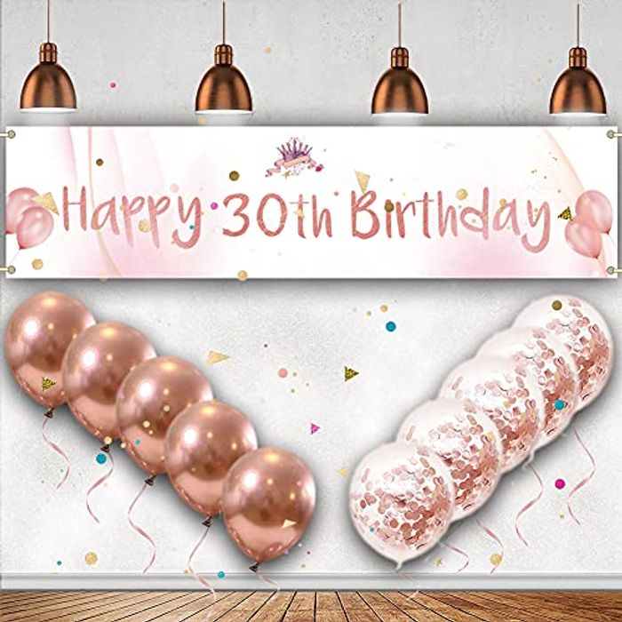 30th Birthday Banner Decoration Set - Rose Gold (Other Options Available)