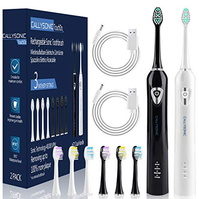 2 Pack CallySonic Rechargeable Sonic Electric Toothbrushes + 8 Brush Heads