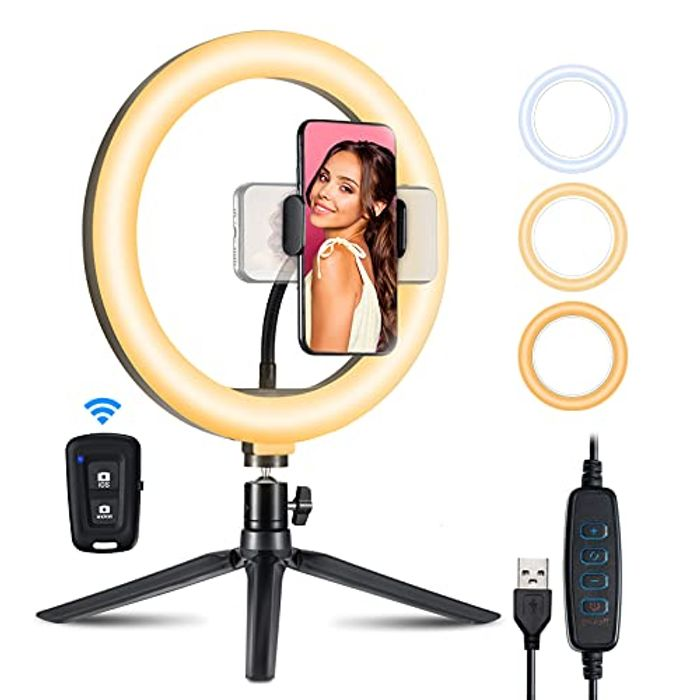 DEAL STACK - 10.2 LED Ring Light with Tripod Stand & Phone Holder + 5% Coupon