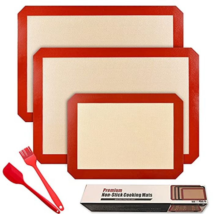 BSSN Non Stick Silicone Baking Mat, Set of 3 - Only £8.99!