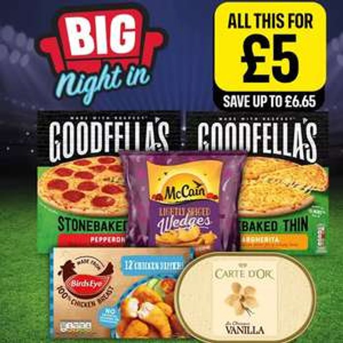 £5 Meal Deal - 2xPizzas + Chicken Dippers + McCain Wedges + Carte D'Or Ice Cream