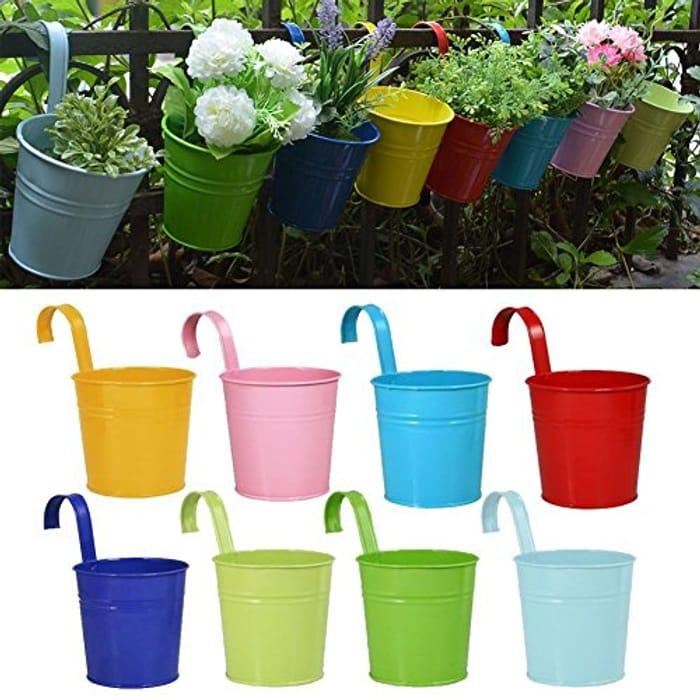 Metal Flower Pots Home Decor - Detachable Hook (8 PCS)