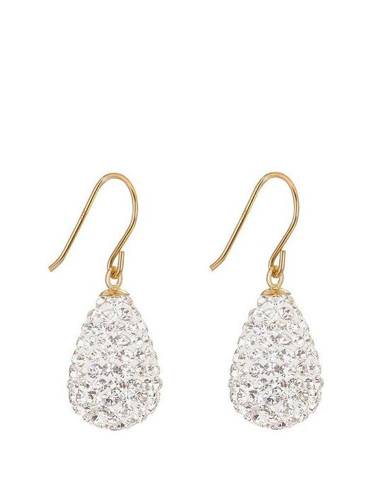 The Love Silver Collection 9ctYellow Gold Crystal Teardrop Bomb Earrings