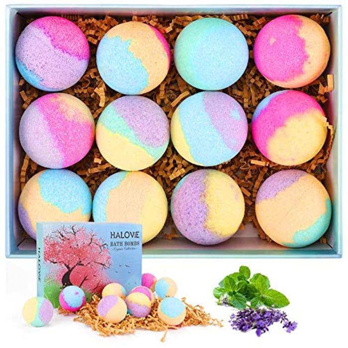 HALOViE Bath Bombs Gift Set 12pcs Fizzy Bubble Spa Bathe Bomb Kit - Only £8.1!