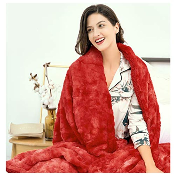 DEAL STACK - Reversible Warm Fluffy Soft Thick Luxury Blanket + 35% Coupon
