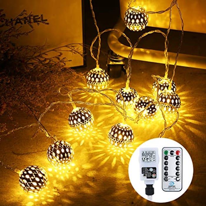 Othran 29.5Ft Moroccan Fairy Lights Plug In, 30 LED