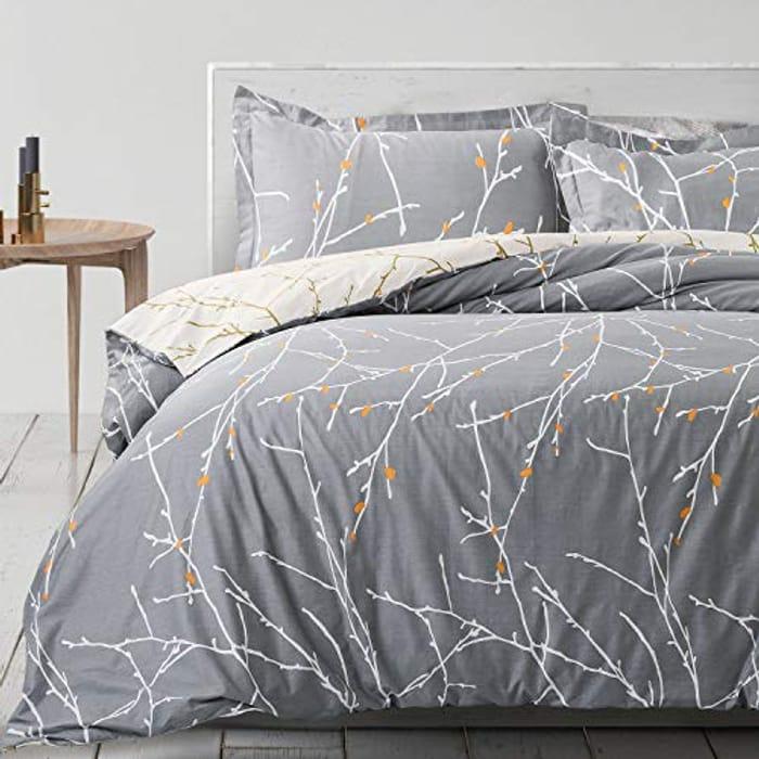 Bedsure 3-Piece 100% Cotton Duvet Cover Set Double Size