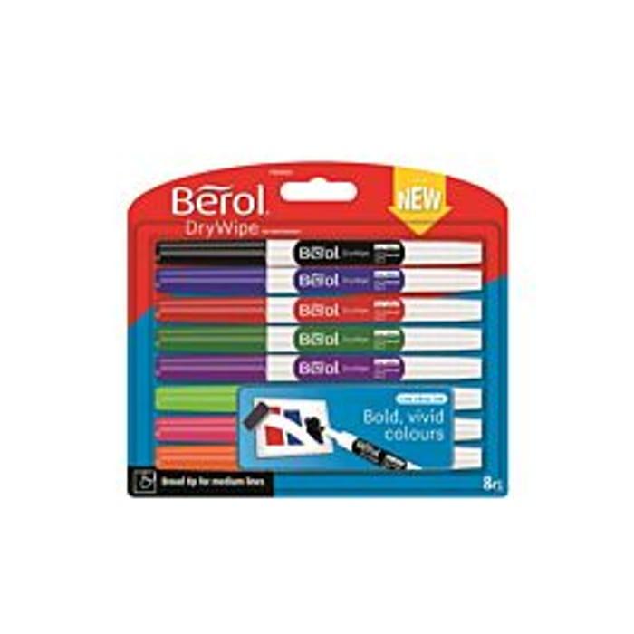 Berol Dry Eraser Pens Broad Tip Pack of 8 Assorted