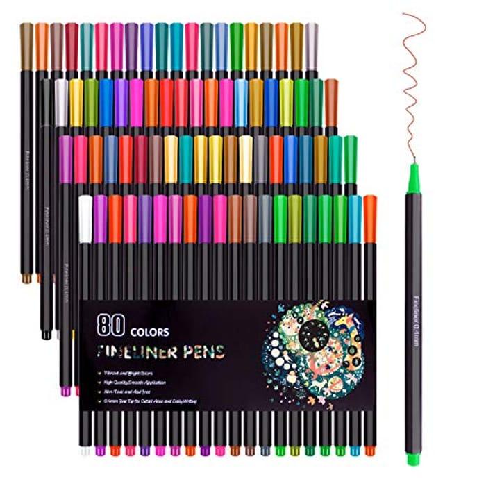Cheap 80 Colors Fineliner Color Pen Set 0.4mm Fine Line - Only £9.97!