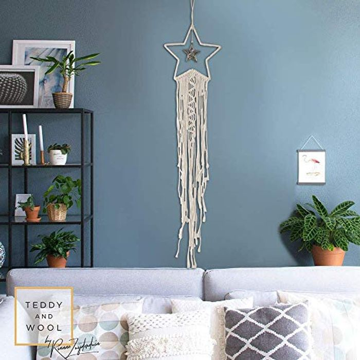 Star Macrame Wall Hanging Tapestry Woven Boho with £10 off Coupon