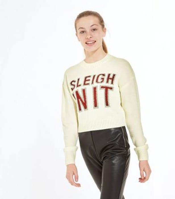 Girls Cream Sleigh in It Glitter Slogan Christmas Jumper 12- 13 & 14-15 Years