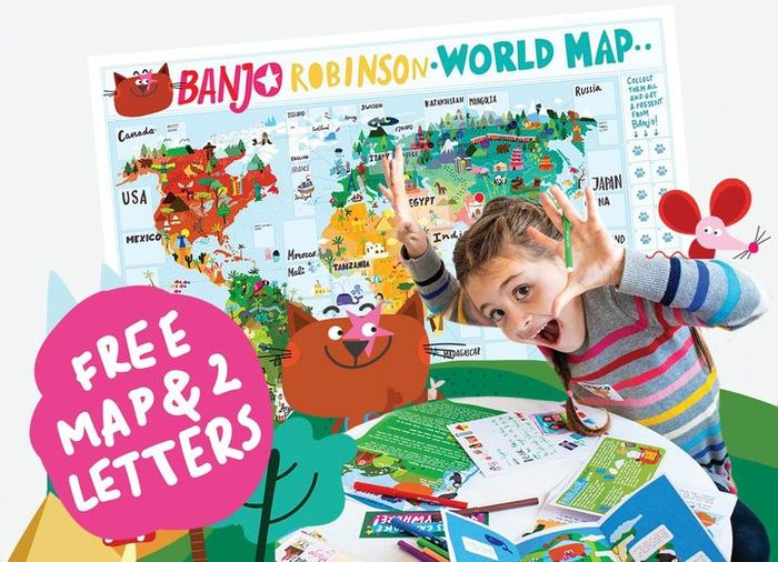 FREE World Map Poster, Stickers & Two Personalised Letters