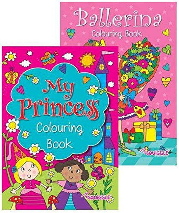 Squiggle Girls My Princess & Ballerina A4 Colouring Books - Set of 2