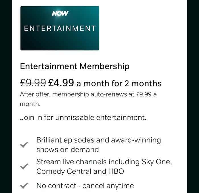 NOW TV Half Price for 2 Months