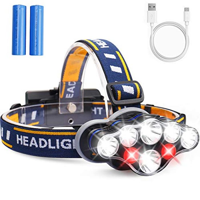MOSFiATA Super Bright Headlamp Rechargeable Headlight - Only £8.99!