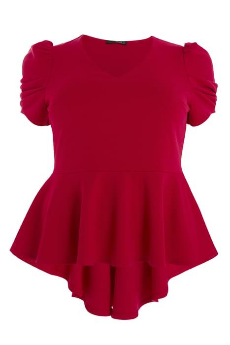 Curve Red Puff Sleeve Peplum Top