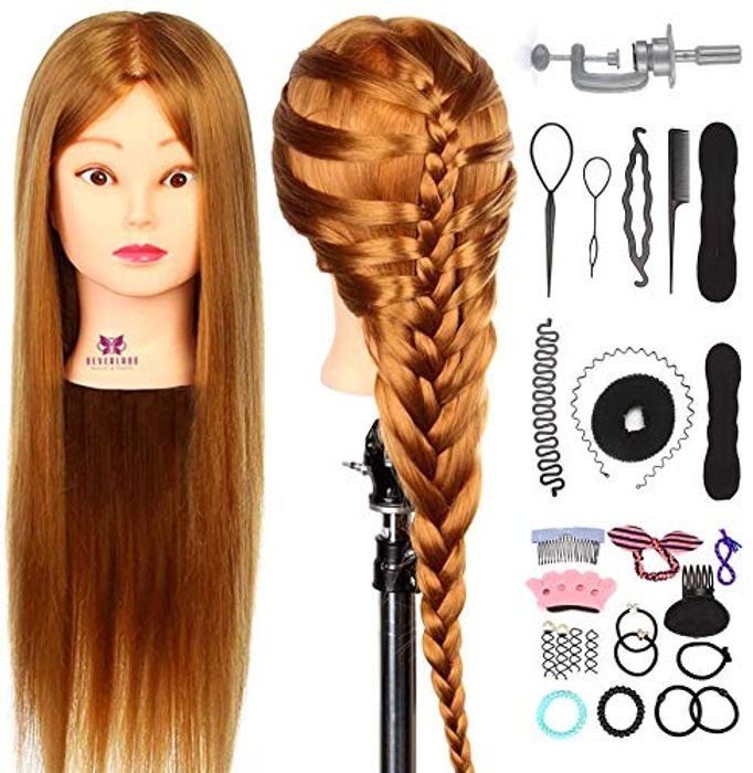Neverland Beauty 26 Inch 30% Real Hair Hairdressing Cosmetology Training Head