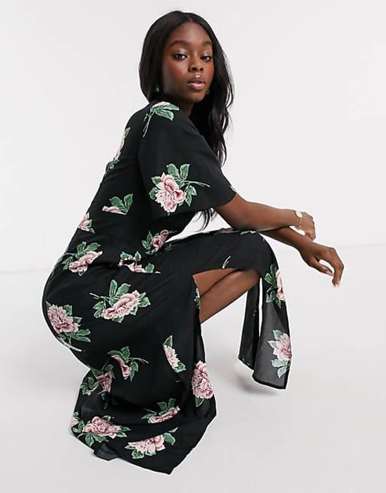 Best Price! Miss Selfridge Angel Sleeve Maxi Dress in Black Floral Print