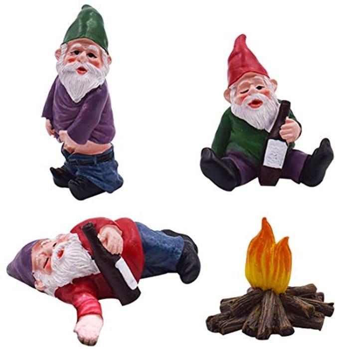 4Pcs Hungover Garden Gnome Garden Ornaments