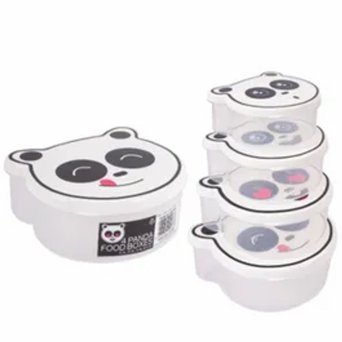 Set Of 4 Panda Food Boxes With Lids