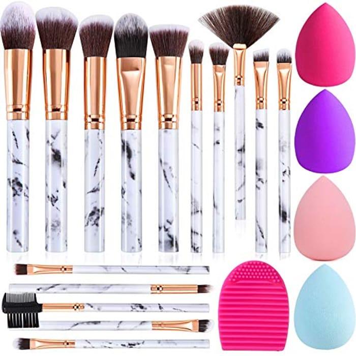 Deal Stack! 15PCs Marble Makeup Brush Set