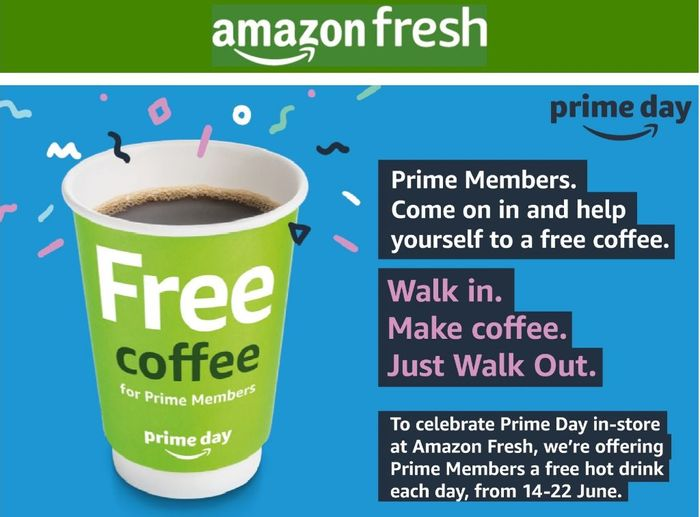 Free Hot Drink Every Day for Prime Members at Amazon Fresh Stores (London)