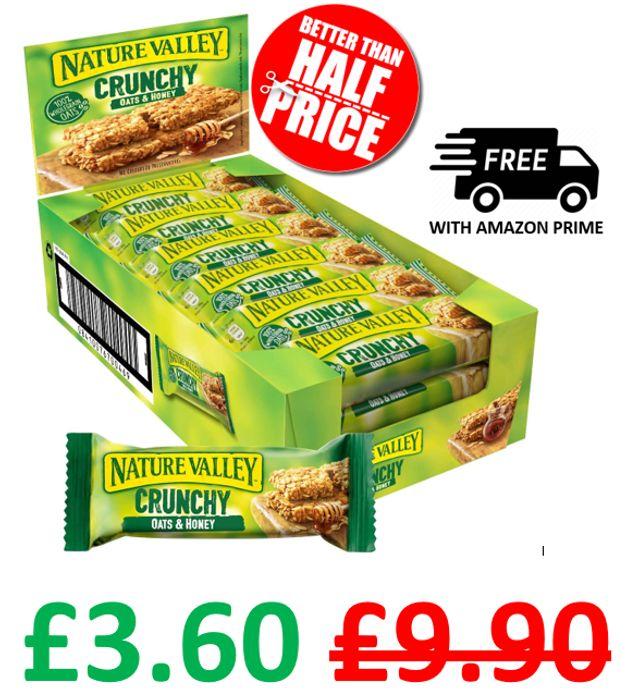 Amazon #1 Best Seller - Nature Valley Crunchy Oats & Honey Cereal Bars 18 X 42g