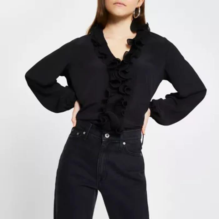 Black-Ruffle-Plisse-Long-Sleeve-Blouse-Top