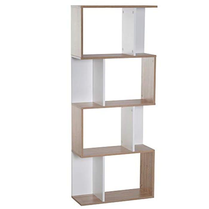 HOMCOM Particle Board 4-Tier Storage Display Shelving Bookcase