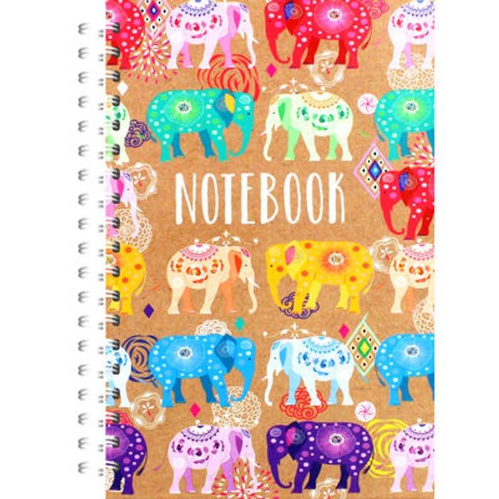 A5 Wiro Bright Elephants Notebook
