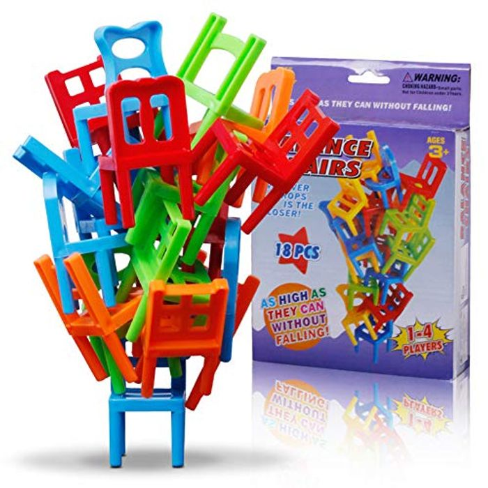 Multicolor Mini Stacking Balancing Plastic Chairs Toys for Kids - Only £3.89!