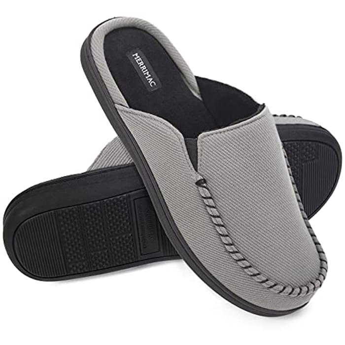 MERRIMAC Men's Moccasin Style Slippers with Memory Foam