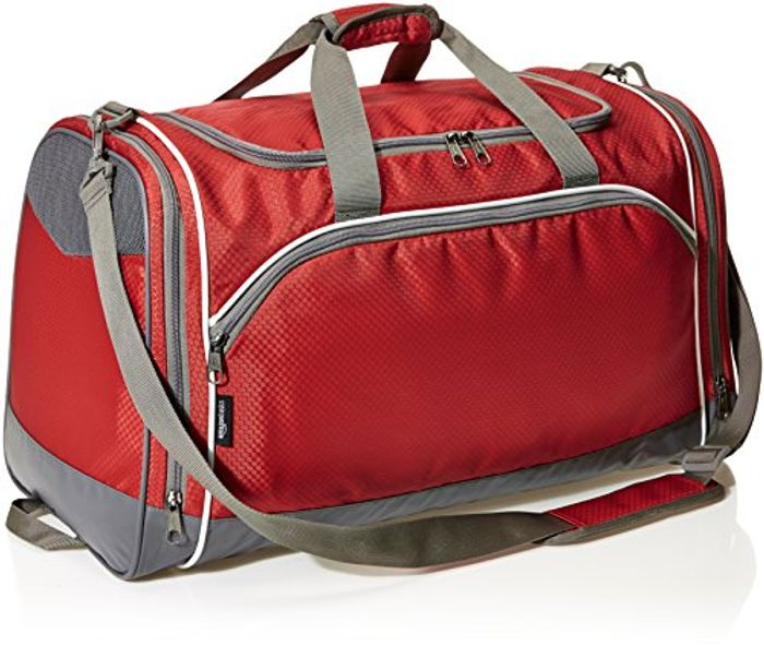 Amazon Basics Sports Duffel - Medium, Red