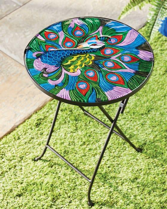 Decorative Peacock Glass Table