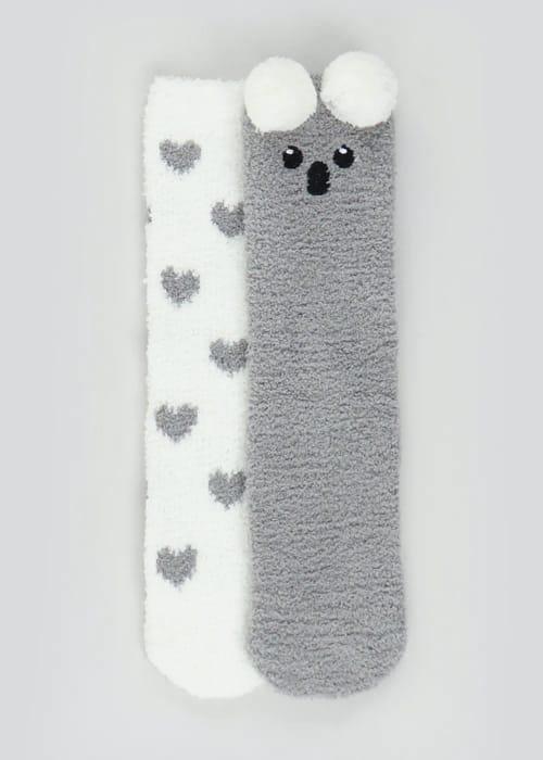 2 Pack Koala Fluffy Socks