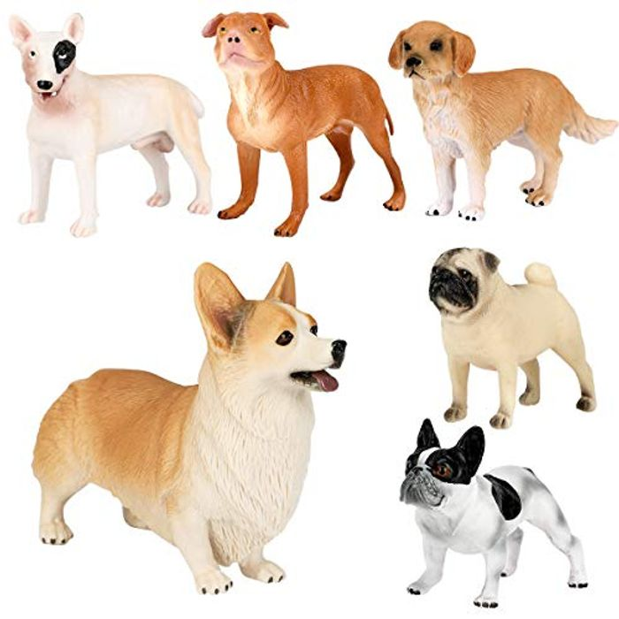 E-More Dog Figures Realistic Puppy Figurines Animal Toys, 6 Pcs - Only £5.10!