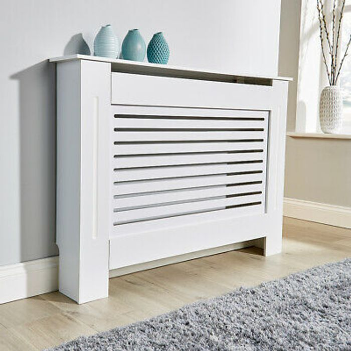 Medium White Radiator Cover Cabinet