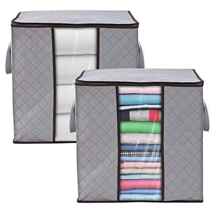 2 Pack Foldable Clothes Storage Bags with Clear Windows