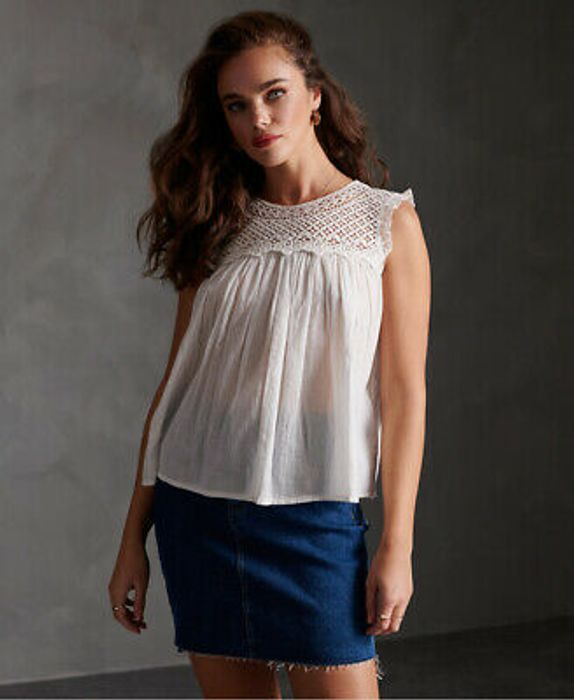 Superdry Womens Ellison Textured Lace Vest Top