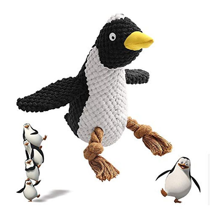 Save £12 - Penguin Puppy & Dog Rope Chew Toy With Squeaker - £5.91